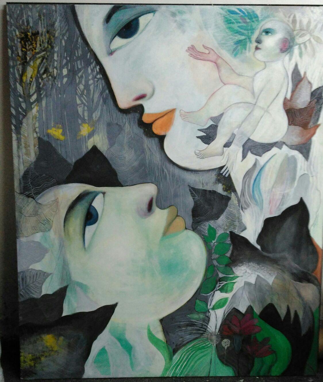 Jardin de la vida 200x180cm Oleo sobre lienzo